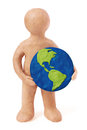 Plasticine Man Holding Earth Stock Images - 37766744