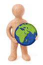 Plasticine Man Holding Earth Stock Images - 37766754