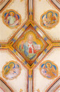 Bratislava - Fresco Of Jesus Christ And Four Evangelists Symbols. Detail From St. Ann Gothic Side Chapel Royalty Free Stock Images - 37766879