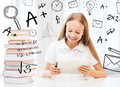Girl With Tablet Pc And Books At School Royalty Free Stock Photos - 37771788