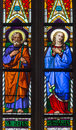Bratislava - Virgin Mary And St. Joseph On Windowpane From 19. From St. Martin Cathedral. Stock Photo - 37778050