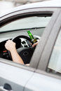 Man Drinking Alcohol While Driving The Car Stock Image - 37779091