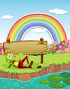 A Frog At The Pond With A Wooden Board And A Rainbow In The Sky Royalty Free Stock Image - 37793626