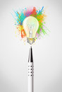 Pen Close-up With Colored Paint Splashes And Lightbulb Royalty Free Stock Photo - 37795385