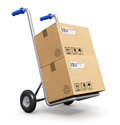 Hand Truck With Cardboard Boxes Royalty Free Stock Photo - 37796215