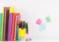 Stationery Set With Book Arrange In Row,group Of Color Pencil Ag Royalty Free Stock Images - 37800909