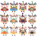 Colored Moose In Retro Style, Set,  Stock Image - 37802801