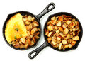 Denver Omelette And Ranch Potatoes In Cast Iron Skillet Isolated Royalty Free Stock Image - 37810866