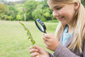 Girl Examining Leaves With Magnifying Glass At Park Stock Photo - 37823220