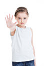 Pretty Little Girl Requiring Stop With Her Hand. Stock Image - 37824381