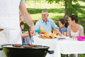 Barbecue Grill With Extended Family Having Lunch In Park Stock Photos - 37824863