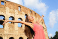 Happy Carefree Elated Travel Woman By Colosseum Stock Photo - 37834360