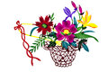 Chinese Paper-cut Color Flower Basket Royalty Free Stock Image - 37840226