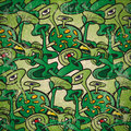 Seamless Pattern Of Abstract Fantastic Plants With Eyes Stock Photography - 37846442
