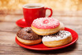 Tasty Donut With A Cup Of Coffee Stock Photo - 37848790