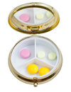 Compact Pill Box With Several Tablets Royalty Free Stock Image - 37887556