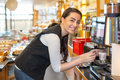 Waitress In Caf� Or Restaurant And Coffee Machine Stock Photo - 37913380
