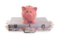 Piggy Bank On Top Of Metal Case Filled With Money Stock Images - 37923664