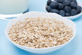 Oat Flakes, Fresh Blueberries And Milk For Breakfast, Close-up Royalty Free Stock Images - 37924219
