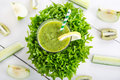 Fresh Organic Green Smoothie With Salad, Apple, Cucumber, Pineap Stock Photo - 37926630