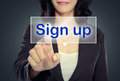 Woman Push To  Sign Up Button Stock Images - 37929124