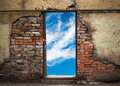 Empty Doorway With Sky In Old Brick Wall Stock Images - 37930884