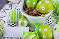 Colourful Green Easter Eggs In Straw Stock Photography - 37941372