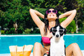 Woman On Summer Funny Vacation With Dog Stock Photography - 37950292