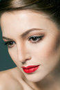 Fashion Portrait Of A Beautiful Young Woman With Red Lips Stock Image - 37955381