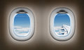 Two Airplane Windows. Jet Interior. Stock Images - 37956644