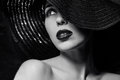 Mysterious Woman In Black Hat Royalty Free Stock Photos - 37962068