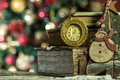 Old Books And Vintage Clock On Christmas Background. Royalty Free Stock Photos - 37974678