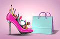 Cosmetics Set Into A Womans Shoe With Gift Bag. Stock Photography - 38002212