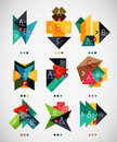 Geometrical Shaped Infographic Option Banners Stock Image - 38007041