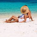 Couple In White Relax On A Beach At Maldives Royalty Free Stock Photography - 38010707