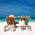 Couple In Green Relax On A Beach At Maldives Stock Images - 38011024