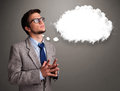 Young Man Thinking About Cloud Speech Or Thought Bubble With Cop Royalty Free Stock Photo - 38036615
