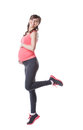 Image Of Happy Pregnant Woman Engaged In Aerobics Stock Photos - 38047923