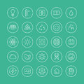 Power And Energy Flat Line Icons Royalty Free Stock Image - 38055986