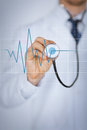 Doctor Hand With Stethoscope Listening Heart Beat Royalty Free Stock Images - 38063229