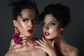 Fantasy. Pair Of Desirable Gorgeous Women In Dark Veils. Togetherness Royalty Free Stock Photo - 38078765