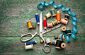 Vintage Sewing Tools And Colored Tape/Sewing Kit Royalty Free Stock Photos - 38084068