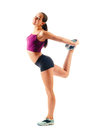 Beautiful Woman In Sportswear Does Exercises Royalty Free Stock Photo - 38093195