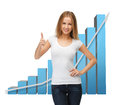 Businesswoman With Big 3d Chart Stock Photography - 38095592