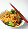 Beef Chow Mein Chopsticks Bowl Stock Photography - 3811142