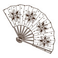 Lady S Fan With Pattern. Stock Photography - 38104772