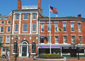 Portsmouth Athenaeum At The Market Square With Cannon Taken From The British Located In Portsmouth, New Hampshire Royalty Free Stock Photo - 38121665