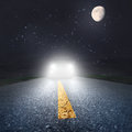 Night Driving On An Asphalt Road Towards The Headlights Stock Photography - 38124712