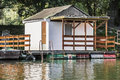 Old Floating Weekend Wooden Raft Hut On Sava River - Belgrade - Serbia Stock Image - 38129321