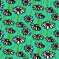 Vector Pattern With Hand Drawn Daisy Flowers Royalty Free Stock Photography - 38137307